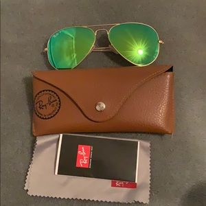 Ray Ban large green mirrored aviator sunglasses